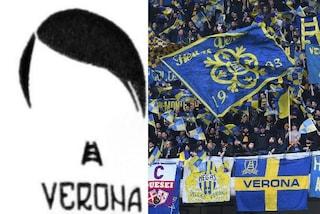 Tifosi del Verona con il logo di Hitler sui berretti prima della partita con il Bologna