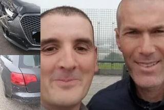 Zinedine Zidane fa un incidente stradale poi scatta un selfie con il conducente