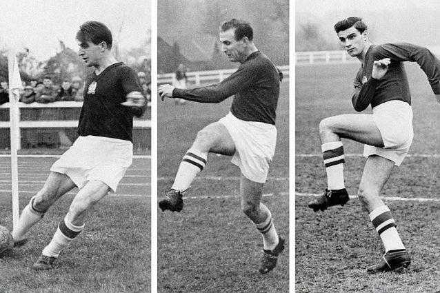 I tre grandi ungheresi Csibor, Kocsis e Hidegkuti che si allenano vicino Parigi nell'ottobre del 1956